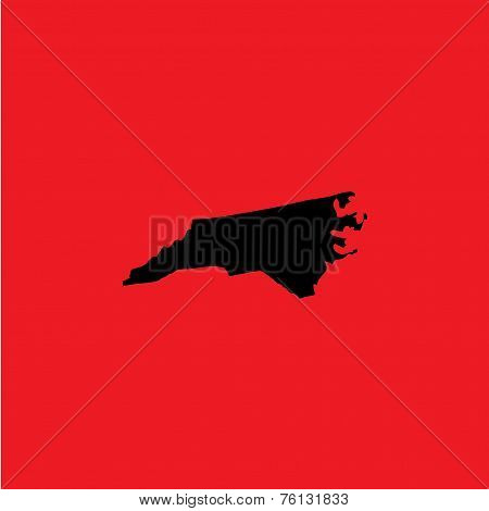 Coloured Background With The Shape Of The United States State Of North Carolina