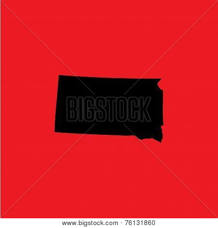 Coloured Background With The Shape Of The United States State Of South Dakota