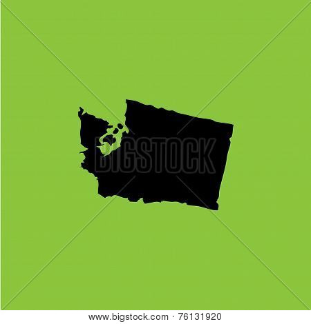 Coloured Background With The Shape Of The United States State Of Washington