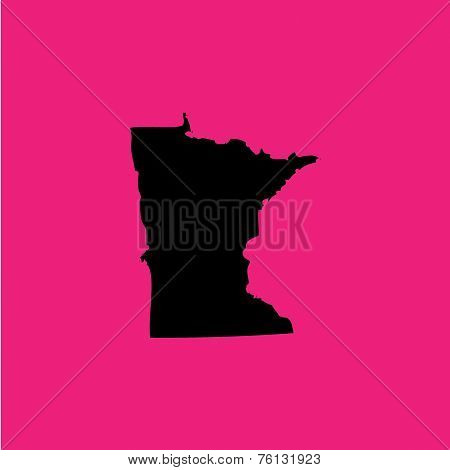 Coloured Background With The Shape Of The United States State Of Minnesota