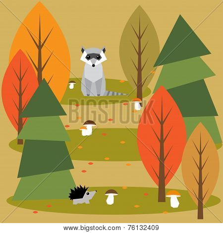 Funny Bright Colored Cartoon Autumn Forest With Animals