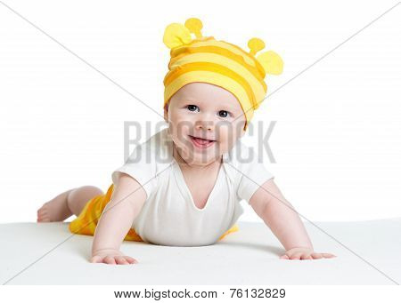 smiling baby boy weared funny hat