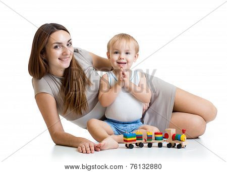 cute mother and child boy play together