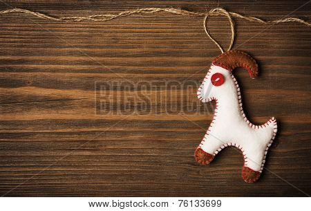 Christmas Decoration Hanging Toy, Grunge Wooden Background, 2015  New Year Of The Goat