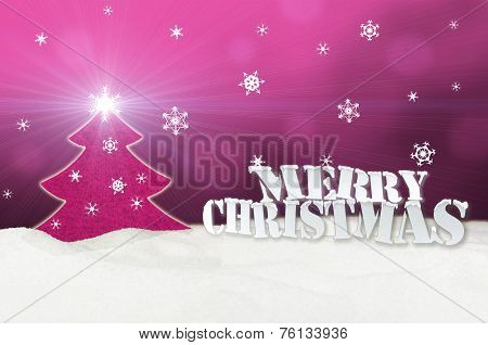 Christmas Background - Christmas Tree Pink - Snow - Merry Christmas
