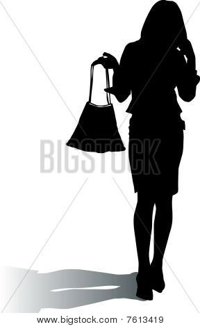 Silhouette woman with fashion handbag