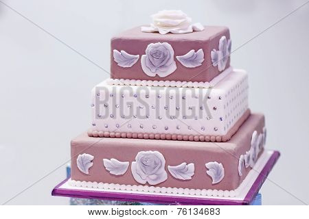 Wedding Cake In White, Pink And Brown