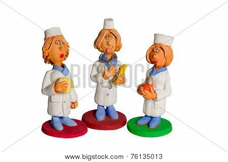 Three Statues Of Women Doctors