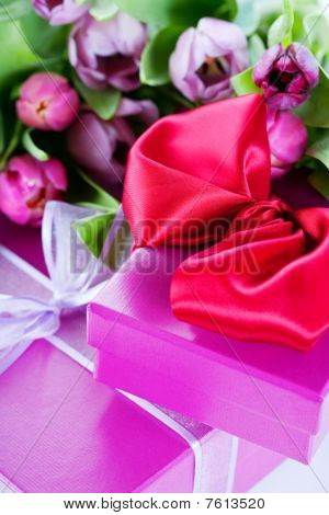 Pink Tulips And Gift Boxes