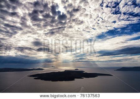 Cloudscape Over Volcano Of Santorini