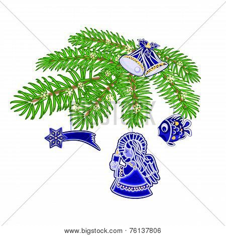 Christmas Branch With Blue Faience Decorations Vector