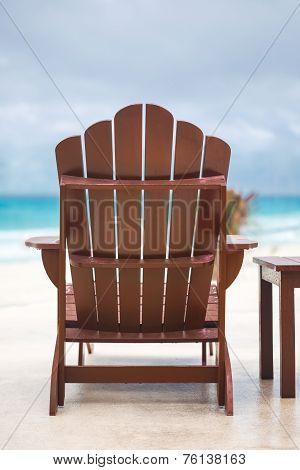 Wooden Sun Chair At Luxury Resort Near Caribbean Sea
