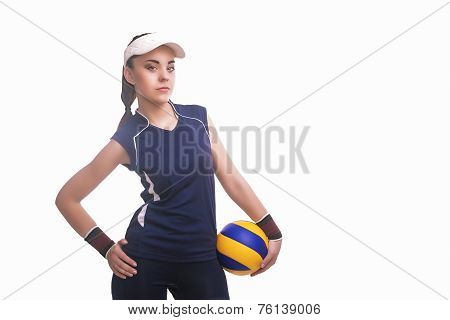 Caucasian Professional Female Volleyball Player Equipped In Volleyball Outfit With Ball