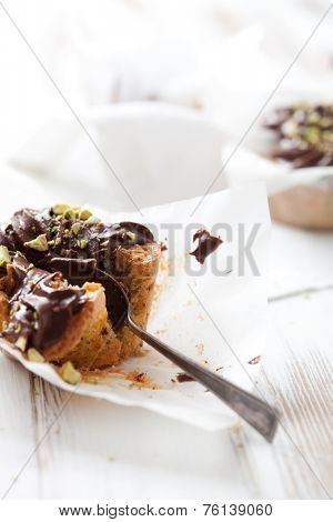 Pistachio cupcakes with chocolate icing