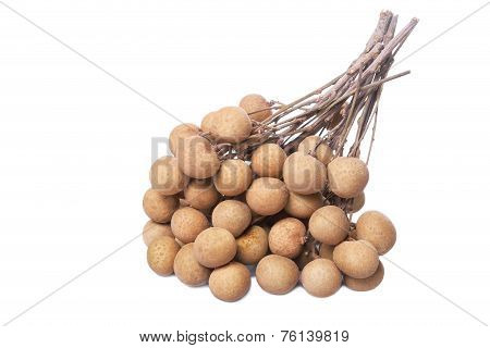 A Bunch Longan Isolated On White Background