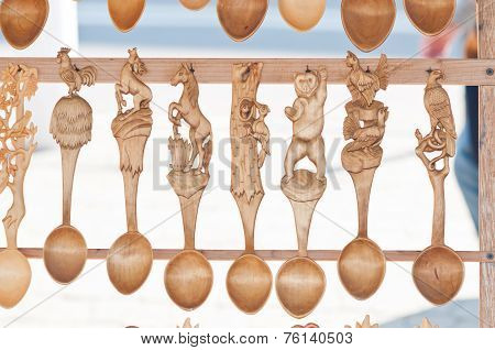Romanian traditional wooden spoons.