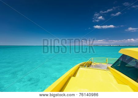 Yellow Catamaran In Caribbean Sea
