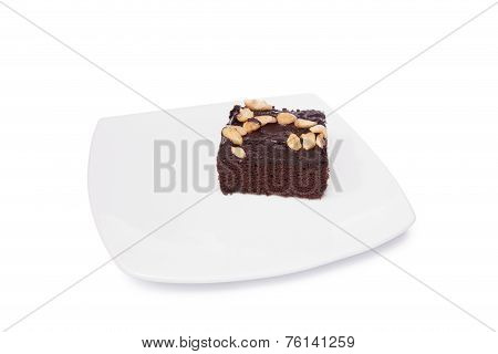 Brownie On Dish Isolated On White Background
