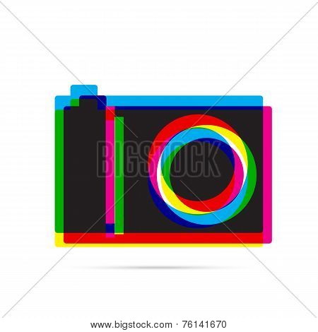 Digital Camera Icon With Shadow. Cmyk Offset Effect