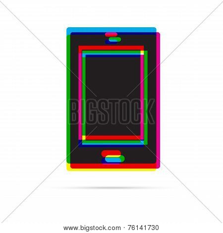 Tablet Icon With Shadow. Cmyk Offset Effect