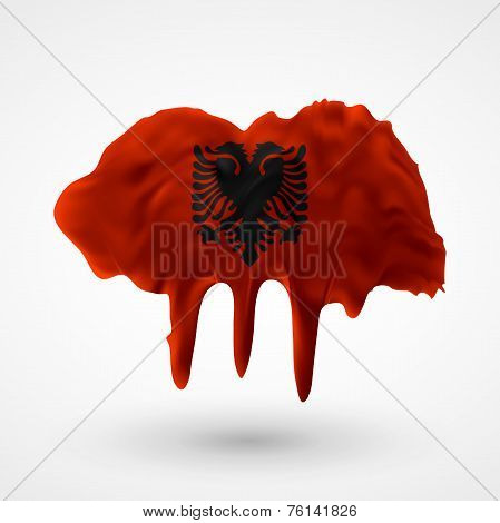 Flag of Albania painted colors