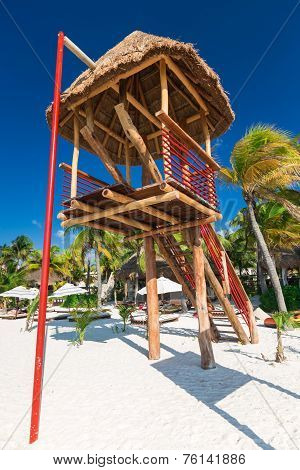 Lifeguard Tower On Caribbean Beach