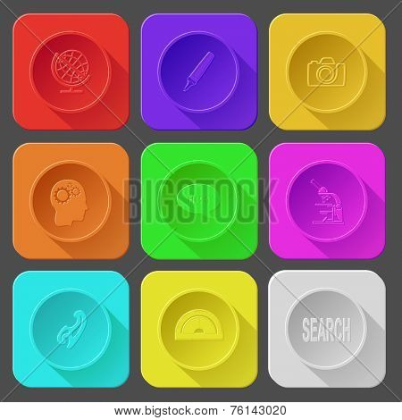 globe, felt pen, camera, human brain, chat symbol, lab microscope, french curve, protractor, search. Color set vector icons.