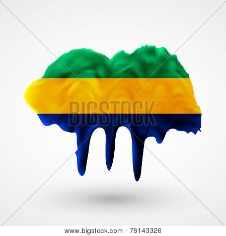 Flag of Gabon painted colors