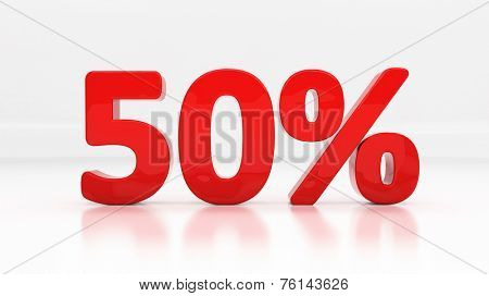 Fifty percent off. Discount 50.  Percentage. 3D illustration