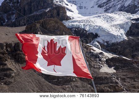 Canadian Flag Near Mount Andromeda