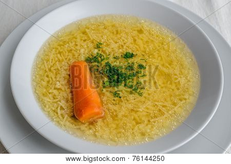 Beef Soup With Noodles, Carrot And Parsley