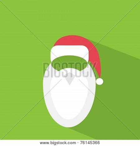 santa claus hat beard flat icon design vector