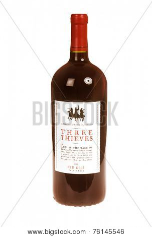 Hayward, CA - November 9, 2014: Bottle of Three Thieves Red Californian Red Wine