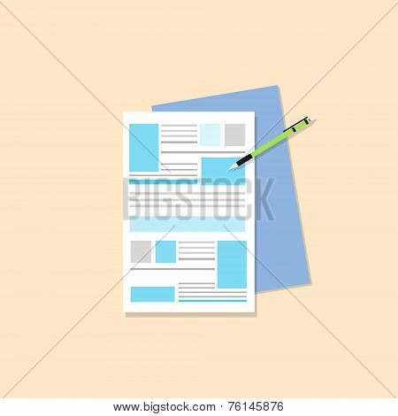 paper document with pen flat icons design vector color