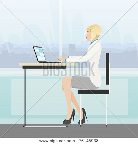 business woman sitting desk office working laptop computer