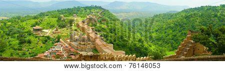 Kumbhalgarh Fort Wall Aerial Panorama