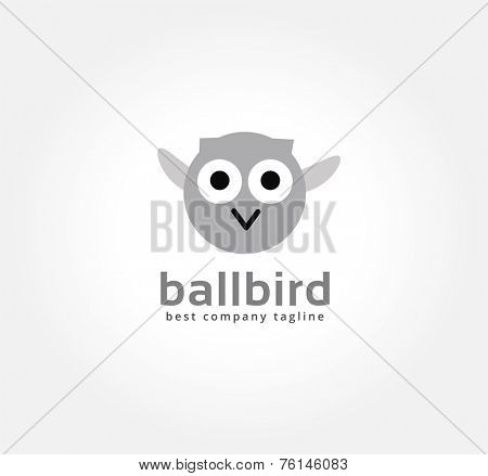 Abstract vector cartoon owl logo icon concept. Logotype template for branding and corporate design