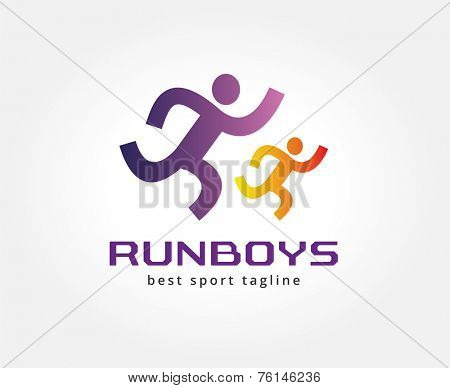 Abstract running people vector logo icon concept. Logotype template for branding and corporate design