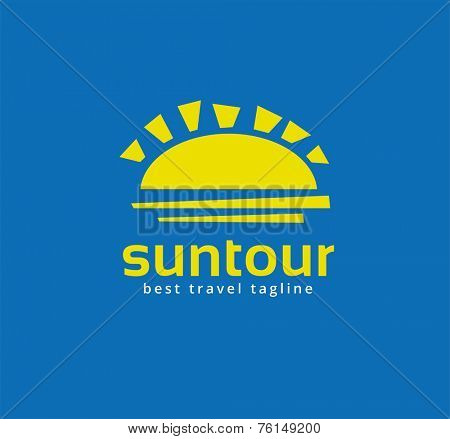Abstract travel sun logo icon concept. Logotype template for branding and corporate design