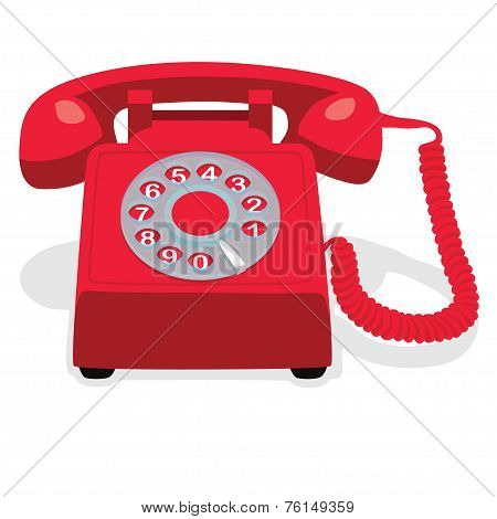 Red Stationary Phone With  Rotary Dial.
