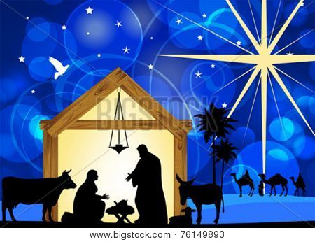 Nativity scene with holy family. EPS10