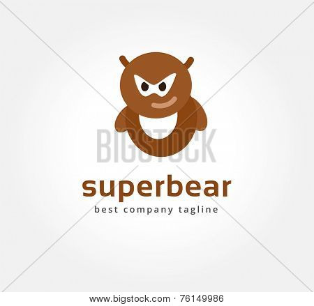 Abstract vector bear monster logo icon concept. Logotype template for branding and corporate design