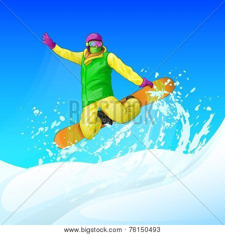 Snowboarder sliding down the hill, man snowboarding snow