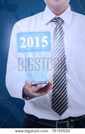 Businessman Holding High Tech Smartphone