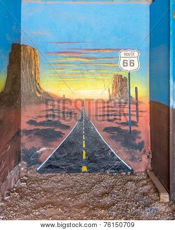 Route 66: Mural Depicts Heading West, At The Blue Swallow Motel, Tucumcari, NM