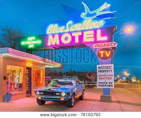 Route 66: Dusk At The Blue Swallow Motel, Tucumcari, NM
