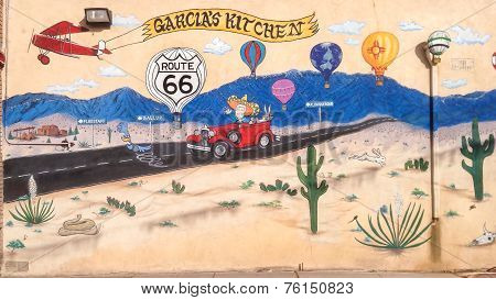 Route 66: Mural Depicts Turn Offs For Flagstaff, Gallup And Albuquerque At Garcia's Kitchen, Albuque