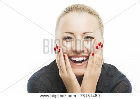 Portrait Of Beautiful Caucasian Woman Smiling With Open Mouth With Palms Touching Cheeks