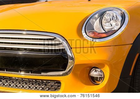 New Orange Car Bumper And Grille Closeup