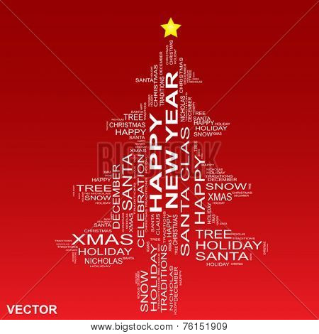 Vector conceptual Christmas or Happy New Year fir tree made of text as wordcloud isolated on red background